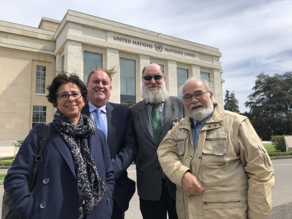 Mike Hinchey, Chrisanthi Avgerou, Don Gotterbarn, and David Kreps, at the Palais des Nations, Geneva