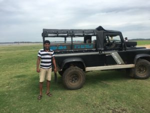 Our guide with his landcover at Kaudulla National Park