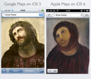 GoogleMaps on iOS5 compared to AppleMaps on iOS6 like the fresco in Spain appallingly restored by an amateur